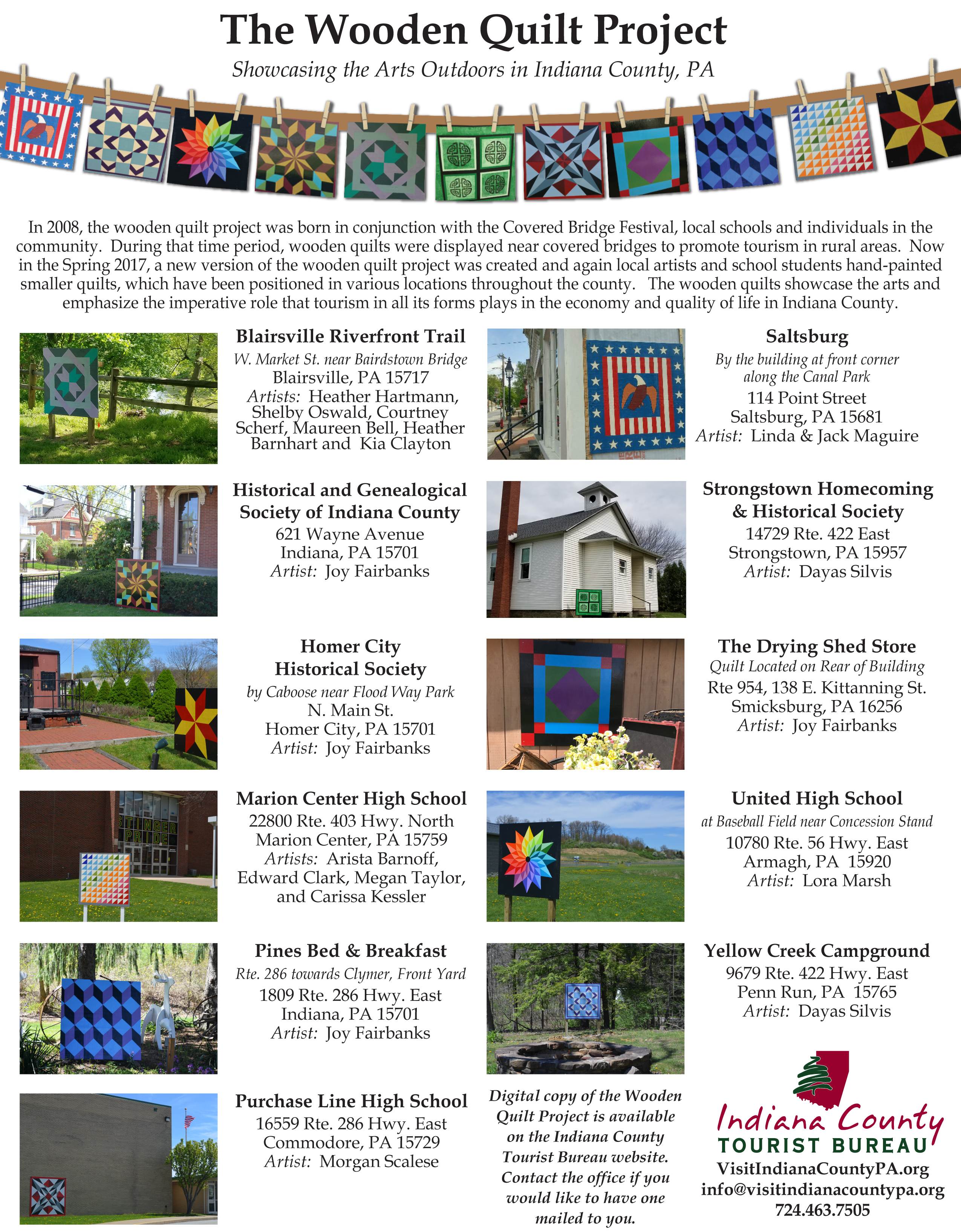 the wooden quilt project indiana county tourist bureau