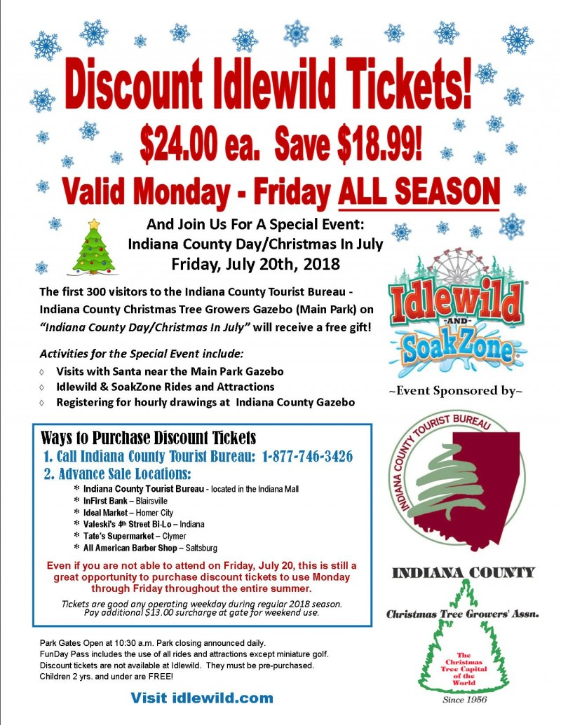 Discount Tickets to Idlewild & SoakZone — Indiana County Tourist Bureau